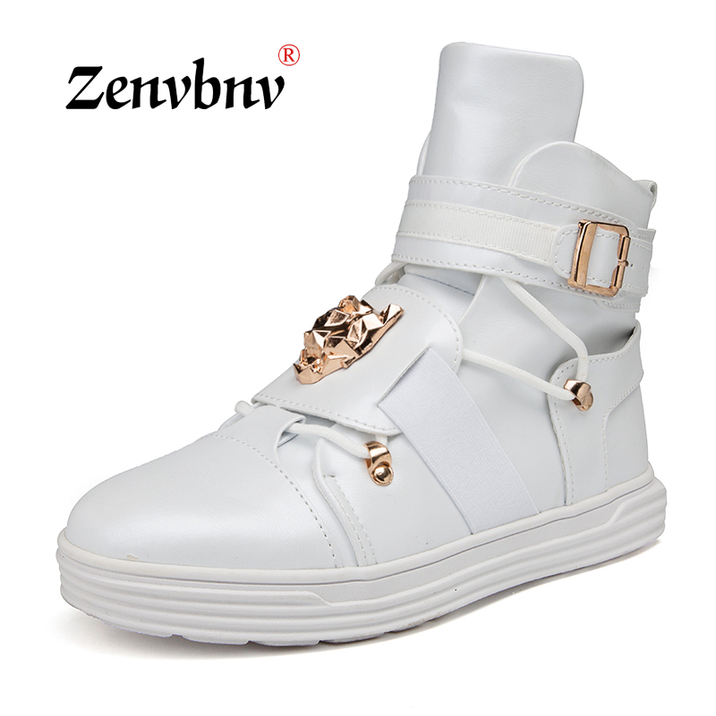 ZENVBNV Casual dancing Sneakers Hip Hop Shoes High Top Casual Shoes Men Patent Leather Flat Shoes zapatillas deportivas hombre famous brand men casual shoes gold metal designer flat outdoor walking casuales plain shoes man s zapatillas deportivas xk080203