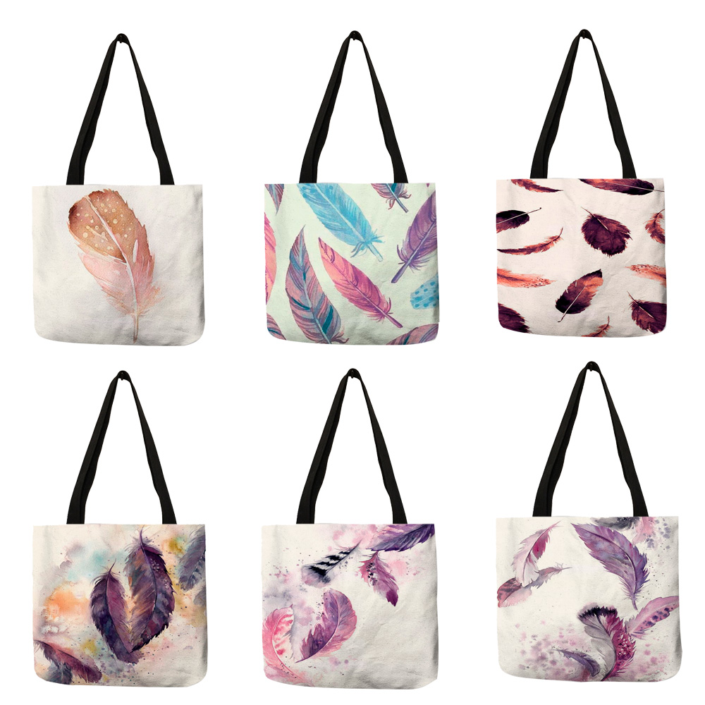 Watercolor Painting Feather Women Eco Linen Tote Bag Foldable Reusable Storage Package For Shopping Travel School Handbag
