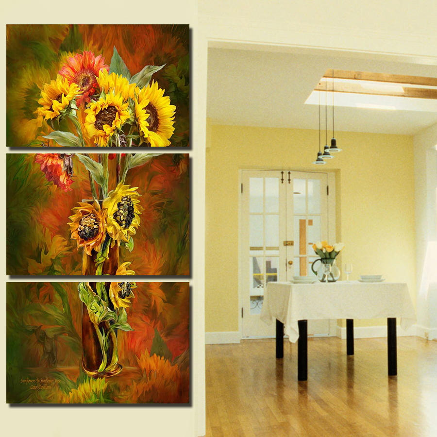 2017 Hot Sale 3 Panels Wall Painting Yellow Flowers Painting Canvas ...