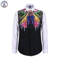 Mr.1991INC Men's fashion 3d brand shirts casual long sleeve man slim blouse funny print colorful feather tops Asia size S-XL