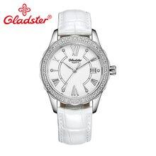 Женские часы Gladster с японским механизмом Miyota, с кристаллами, сапфировое стекло, кожаное платье, женские часы, модные кварцевые женские наручные часы