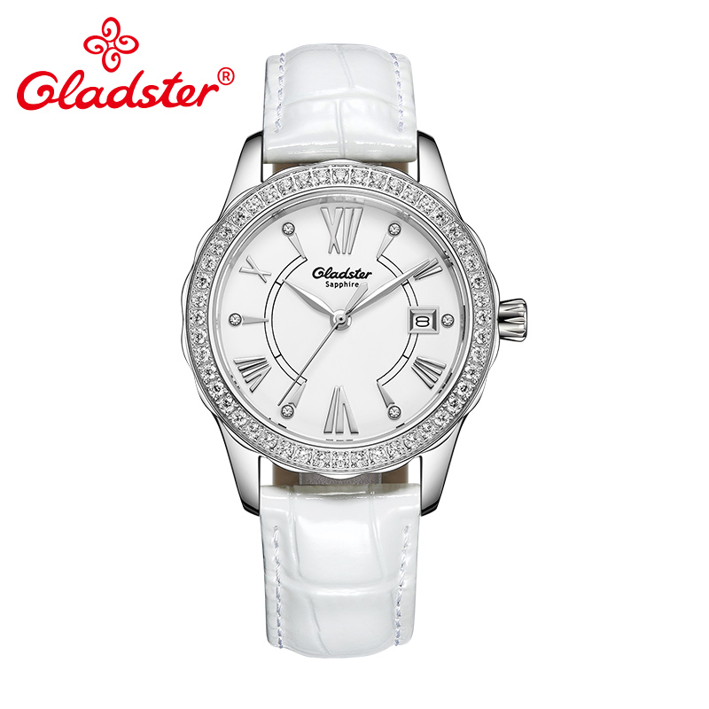 Gladster Japanese Miyota Movement Crystal Women Watch Sapphire Crystal Leather Dress Lady Clock Fashion Quartz Female Wristwatch