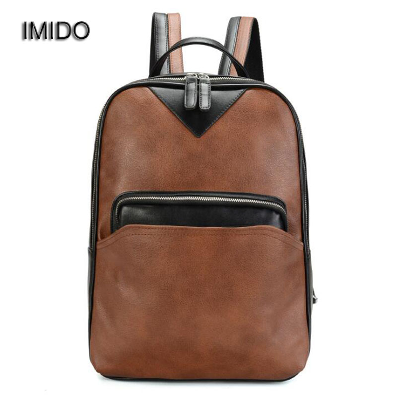 Luggage & Bags Backpacks Imido Brand Pu Leather Mens Backpack Youth School Bags For Teenagers Male Brown Color Fashion Travel Backpacks Rucksack Sld134
