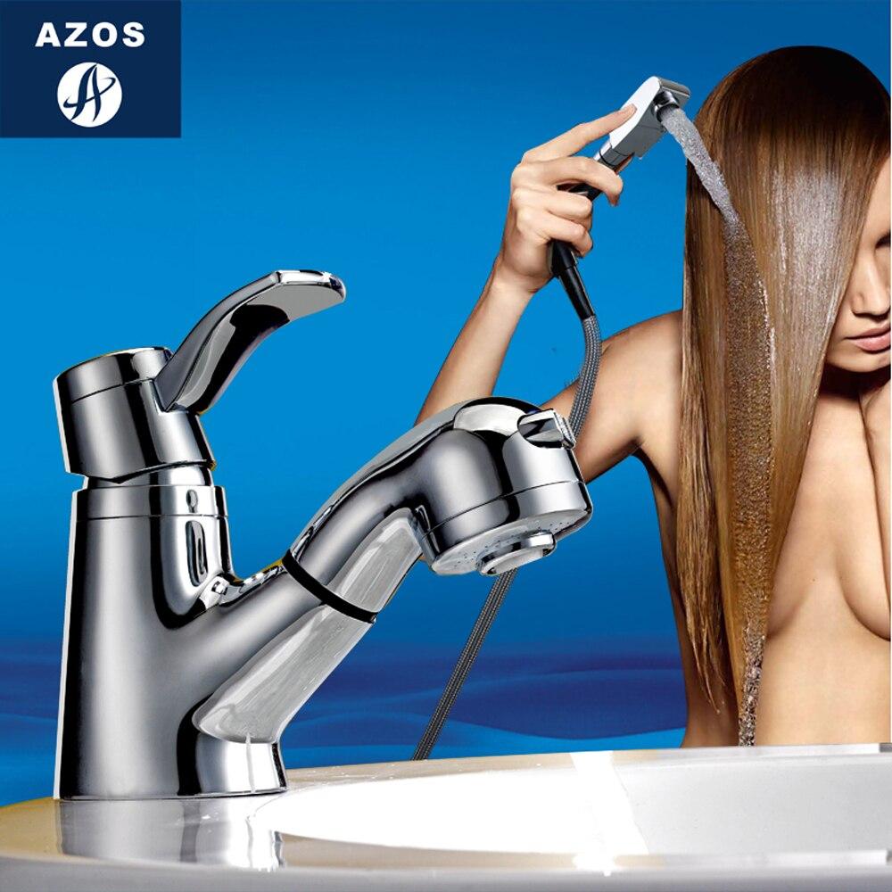 Modern Bathroom Faucet Pull Out Shower Head Nozzle Single Handle Swivel Spout Sink Mixer Tap Chrome Polish 2 Modes CLMP011Z