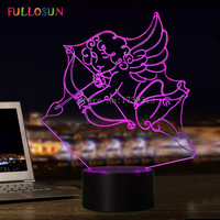Customize Table Desk Lamp Angel 3D Lamp 7 Color Changing LED Touch Night Light For Valentine