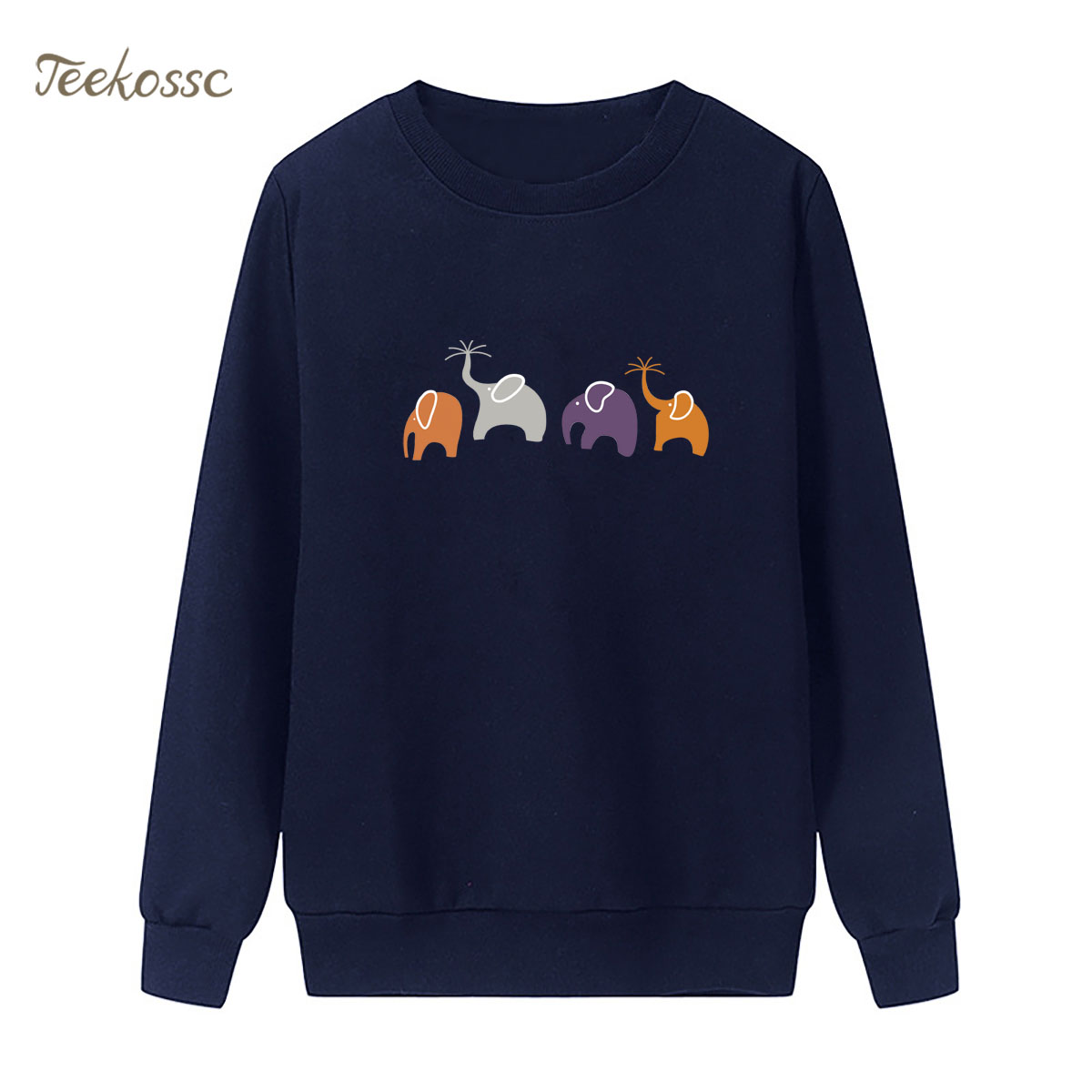 Four Elephants Sweatshirt Cute Hoodie 2018 New Design Winter Autumn Women Lasdies Pullover Fleece Warm Loose Casual Streetwear