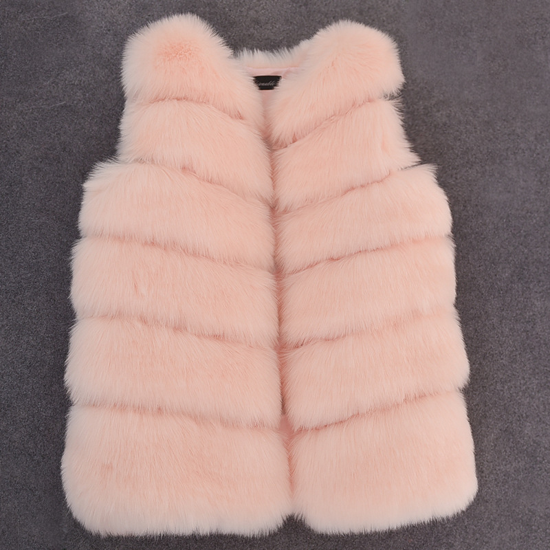 2018 New Fashion Autumn and winter Clothes children's imitation fur vest Girl's Princess fur Coat Vest Long Furry Coat