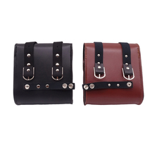 цена на New Universal Mini Motorcycle Handlebar Sissy Bar Saddlebag Side Bag PU Leather Tool bag For Harley Honda Kawasaki Yamaha Suzuki