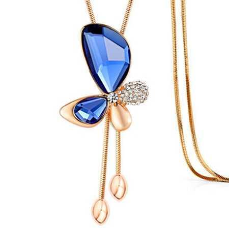 Высококачественный модный Джокер синий серый коричневый с кристаллами Длинное платье с кисточками украшение ожерелье женская кофта-бабочка цепь
