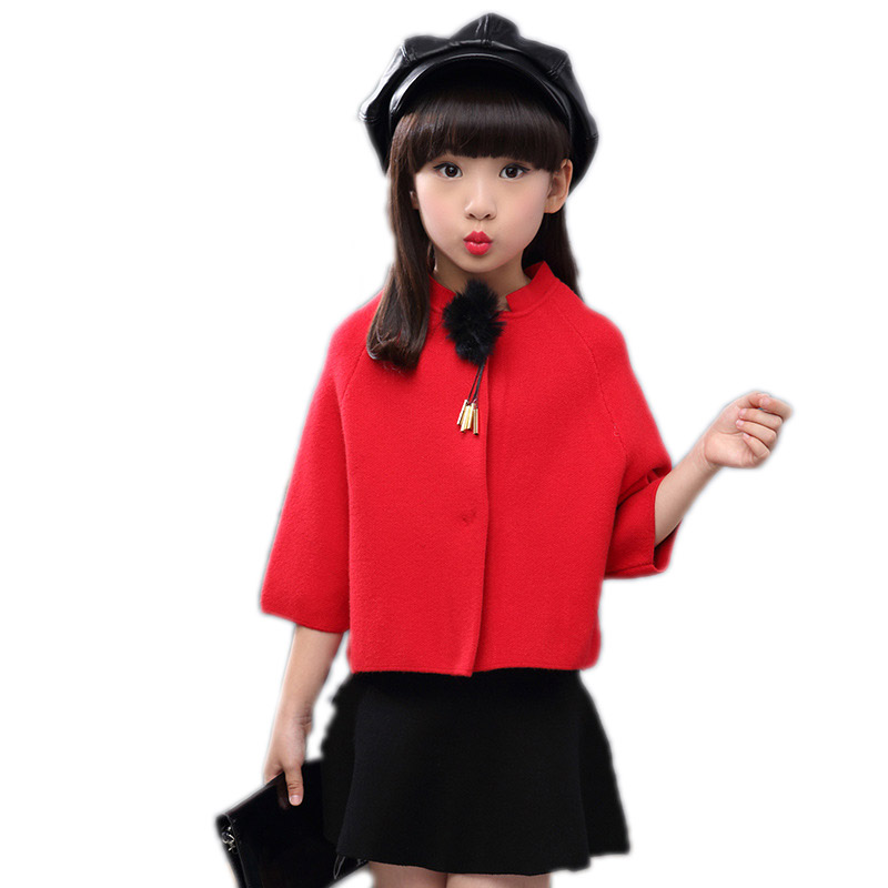 girls children clothing 2018 new spring long sleeve girls clothes top single button solid knitted batwing coat+solid tutu skirt stylish solid color batwing sleeve asymmetrical tops for women