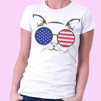 The Seventeenth Star 2017 Woman American Flag Printed Glasses T Shirt For Women O Neck Short