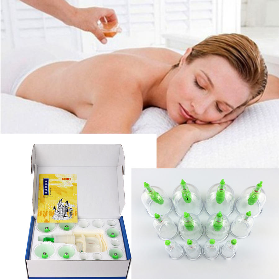 24Pcs Cupping Device Acupuncture Suction Cupping  Magnetic Therapy Vacuum  Body  Massage Cups Tank Gas Cylinders Set D0692 12pcs 2boxes device acupuncture suction cup set massage magnetic therapy vacuum tank gas cylinders cupping of body massage d0691