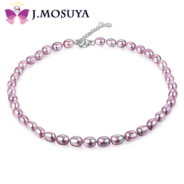 J.MOSUYA Brand Real Natural Pearl Necklace For Women Christmas Gift, Freshwater Pearl Jewelry Necklace