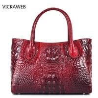 New High Quality Women Leather Handbags Embossed Crocodile Pattern Women Handbag Famous Designer Vintage Tote Bag