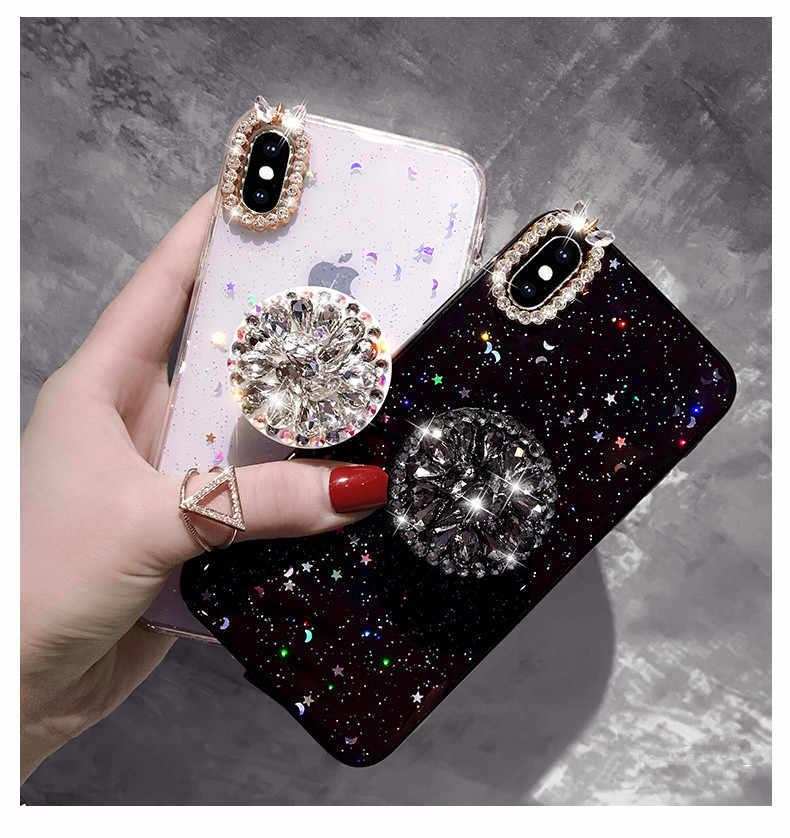 Luxury Capa Bling Diamond Airbag Bracket Epoxy Stars And Moon Soft Case  Cover For iphone X 456f5f56b703
