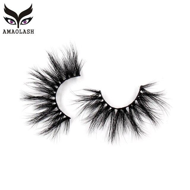 AMAOLASH Eyelashes Mink Eyelash 25mm Natural Long Thick Lashes Dramatic Fluffy Cruelty Free Criss-cross False Eyelashes Makeup