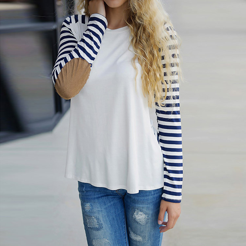 Big Sales Cheap Clothes Women Cotton T-shirts Long-sleeved Shirt Striped Wrist Patchwork T-shirt Tops Female Thin Slim T-shirts