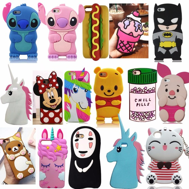 For iPhone 5 5s 5C SE 6 6s Plus 3D Soft Silicone Case Phone Back Cover Skin Shell For iPhone 7 7Plus 8 8Plus X XS XR XS Max Case