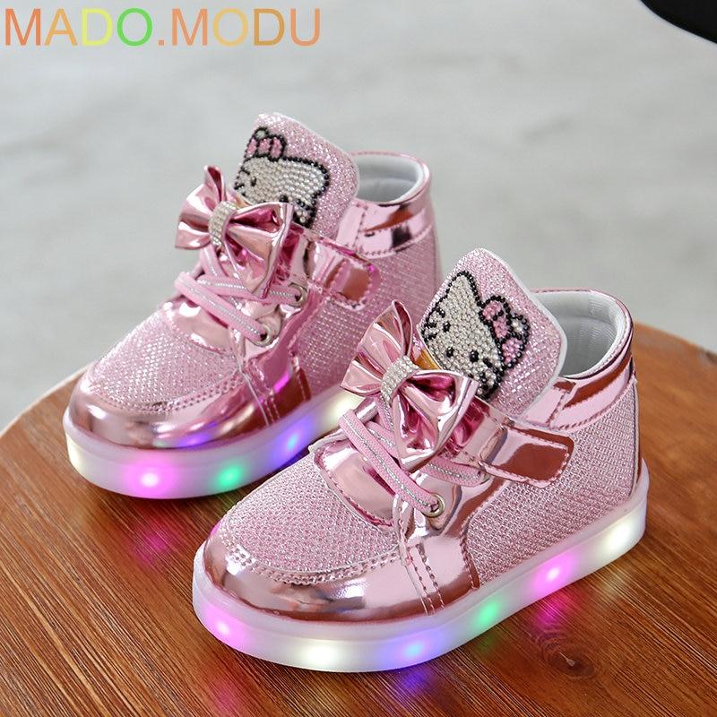 KT Cats niño zapatillas luminosas 2018 nueva marca Rhinestone calzado niños LED intermitente botas para bebés niñas zapatos casuales con luz