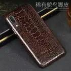 De lujo de cuero de funda del teléfono para Huawei P9 P10 P20 Lite p20 Pro Natural avestruz pie piel Mate 10 lite P para Honor 8X