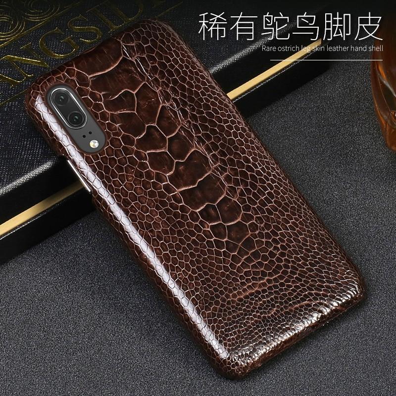 Luxe Lederen telefoon geval Voor Huawei P9 P10 P20 Lite p20 Pro Gevallen Natuurlijke struisvogel voet huid Voor Mate 10 lite P Voor Honor 8X