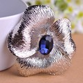 Blucome prong definir azul broche de cristal pin camisola ou pingente antigo banhado a prata flor broches jóias big size corsage
