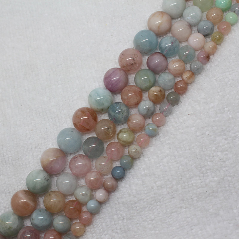 Mini. order is $7! 6-12mm Natural Morganite Aquamarines Round Loose Beads 15