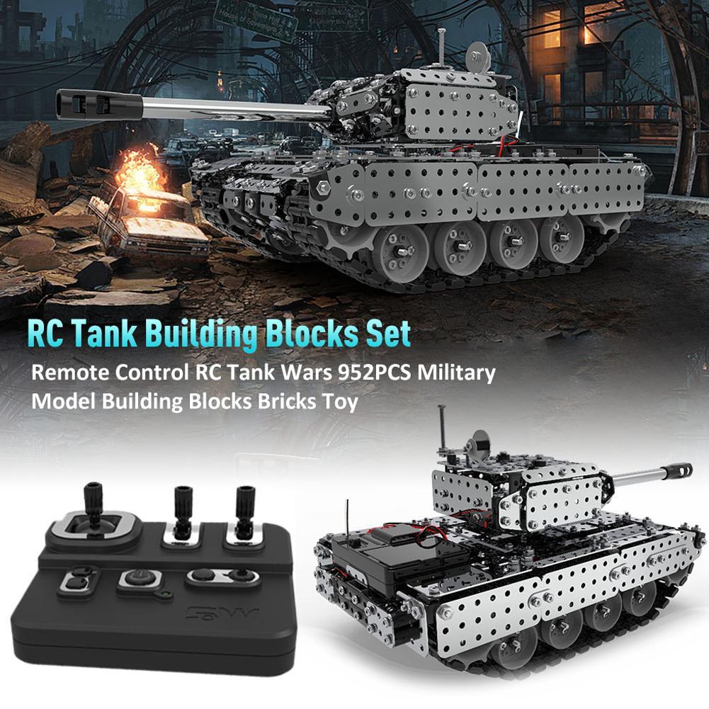 952 pièces télécommande RC Tank Wars militaire modèle blocs de construction briques jouet avec 3.7 V 300 MAh batterie au Lithium pour garçons enfants cadeau