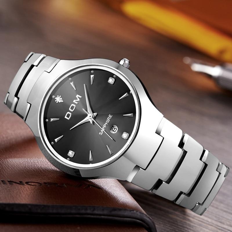 DOM часы Мужчины стали вольфрама роскошные Лидирующий бренд наручные 30 м водонепроницаемый Бизнес кварцевые часы Мода Повседневное W-698-1M