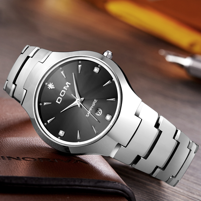 DOM watch men tungsten steel Luxury Top Brand Wrist 30m waterproof Business Quartz watches Fashion Casual W-698-1M dom men s business watches top brand luxury quartz watch fashion tungsten steel waterproof watch wristwatch gift w 624 1sm2