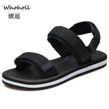 Whoholl Sandals Men Shoes 2019 Gladiator Mens Roman Summer Flip Flops Gray Black Flat Large Size 9.5