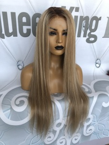 Image 2 - QueenKing hair Front Lace Wig 180% Density Lemi Color Balayage Ombre Wigs T4/27/613 Brazilian Remy hair Free Shipping Overnight