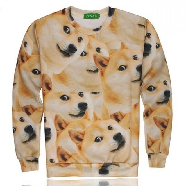 Iswag 1991INC mais novo estilo 3D engraçado DOGE hoodies homens camisolas o pescoço de manga comprida tamanho sml XL