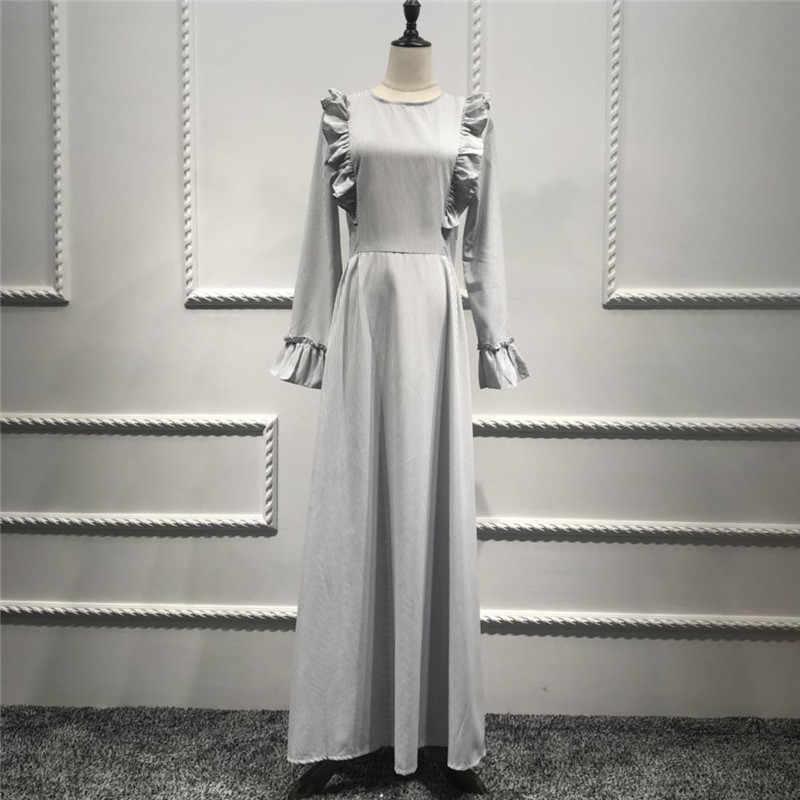 9055b9f9c87 Casual Muslim Full Abaya Striped Maxi Dress Flounce Long Robe Gowns Tunic  Middle East Ramadan Worship