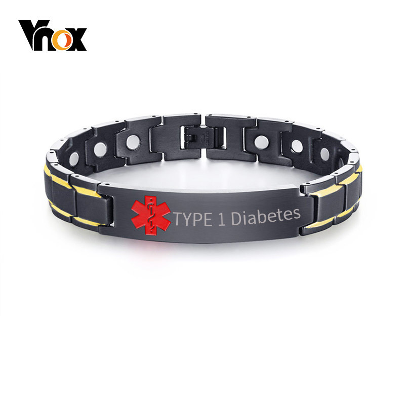 Vnox Healthy Medical Alert ID Bracelets for Men Free Engraving Stylish Magnetic Bio Energy Therapy Wrist Jewelry 8.66 amezcua energy bio disc 2 bio energy disc healthy water maker increasing nutrition cell detoxification bio quantum liquid glass