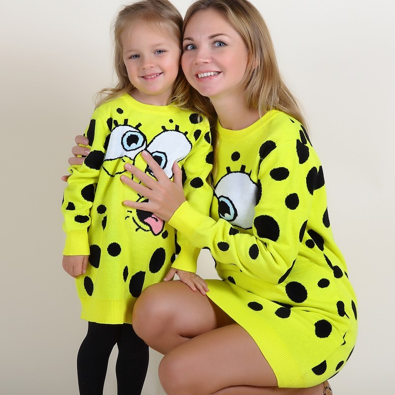 Instock SpongeBob Mom and Daughter Dress Thick Knit Autumn Lovely Dresses INS Hot Dress High Quality