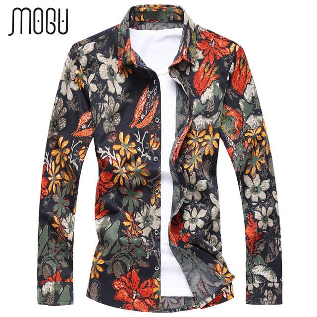 MOGU 2017 Camisas Novas Dos Homens Primavera Floral de Algodão do Homem Moda Roupas Casuais Colarinho Quadrado Quatro Estações Mangas Compridas Masculino camisa