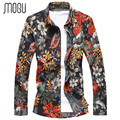 MOGU 2017 New Shirts Men Spring Floral Cotton Man's Fashion Casual Clothes Square Collar Four Seasons Long Sleeves Male Shirt