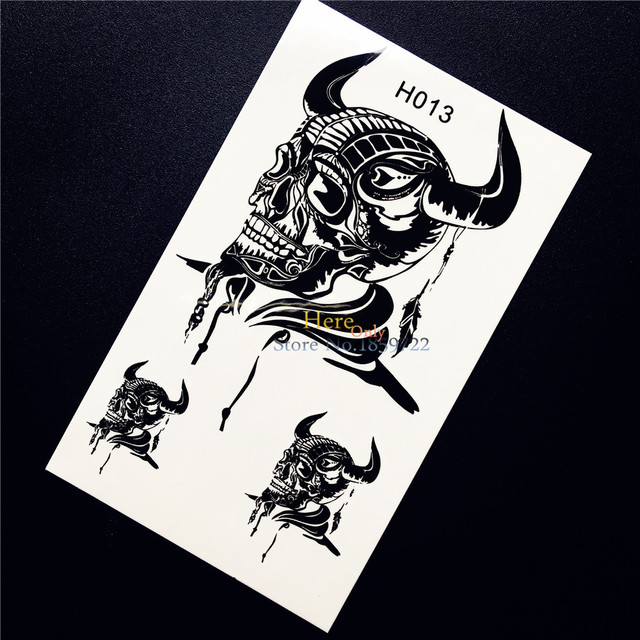 Unique body art black temporary tattoo demon skull head ox horn design men women arm leg