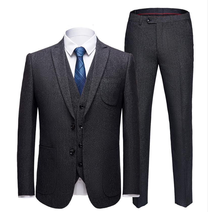 Jacket+Vest+Pants)2019 Costume Homme Men Causal High Quality Classic Suits Men's Slim Fit Business Wedding Suit Tailor-Made Suit