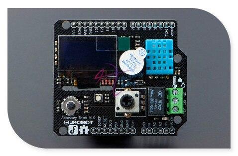 DFRobot Аксессуар Щит V1.0 для Bluno встроенный OLED Экран Зуммер 1.5 Реле Потенциометра Джойстик RGB LED модуль Датчика DHT11