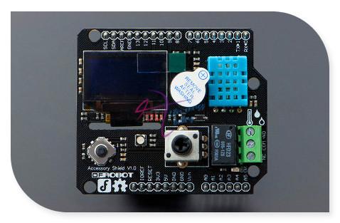 DFRobot Accesorio Shield V1.0 para Bluno Pantalla OLED integrada Zumbador 1.5 Relé Potenciómetro Joystick RGB LED módulo DHT11 Sensor