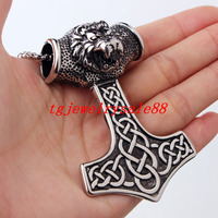 High Quality Viking Thor Hammer Pendant Silver Black Tone Stainless Steel Lion Head Biker Mens Boy