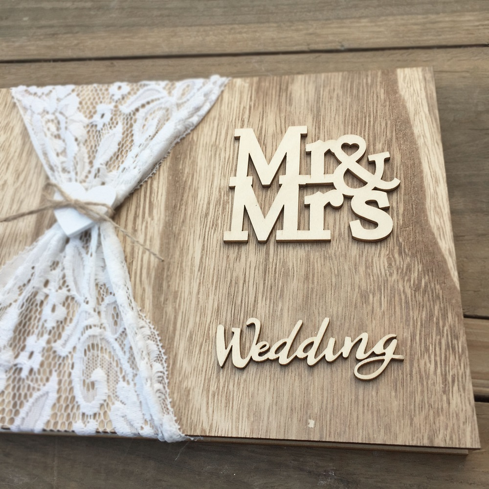 Wedding GuestBook Wooden Guest Book Personalised DIY Photo book Signature Guest books Lace Decora book in Signature Guest Books from Home Garden