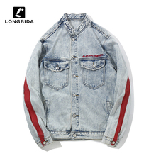 New Mens Jeans Jacket High Street Denim Men Embroidery Streetwear Hip Hop Clothing