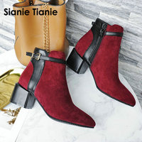 Sianie Tianie 2019 winter square med heels burgundy olive woman shoes fashion ankle boots buckle martin boots for women size 43