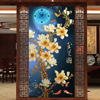 The Diamond Embroidery, Bedroom Living Room Decoration Full Drill Diamond Painting Clock Orchid Flowers Wall Clocks