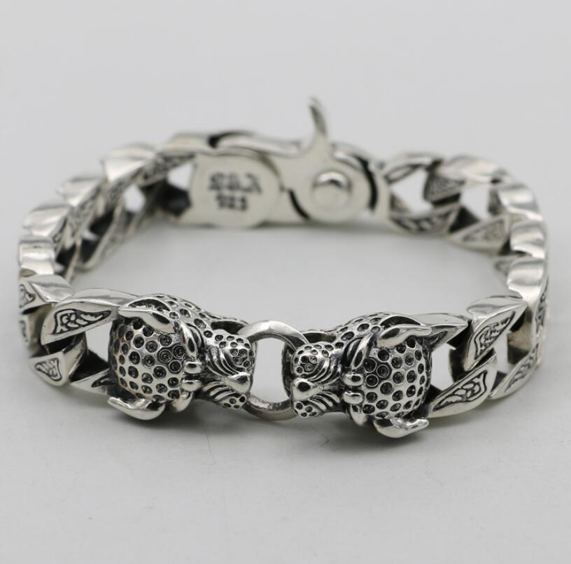 S925 серебро резные двойной головы леопарда большой толстые руки цепь браслет