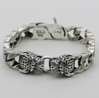 S925 sterling silver carved double leopard head large thick hand chain bangle bracelet