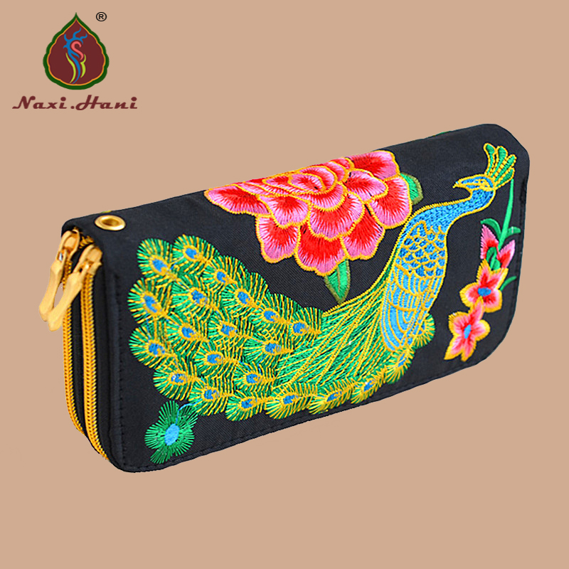 Ethnic high-capacity zipper peacock Embroidery Women Long Wallet retro Casual canvas coin Purse Clutch phone bags